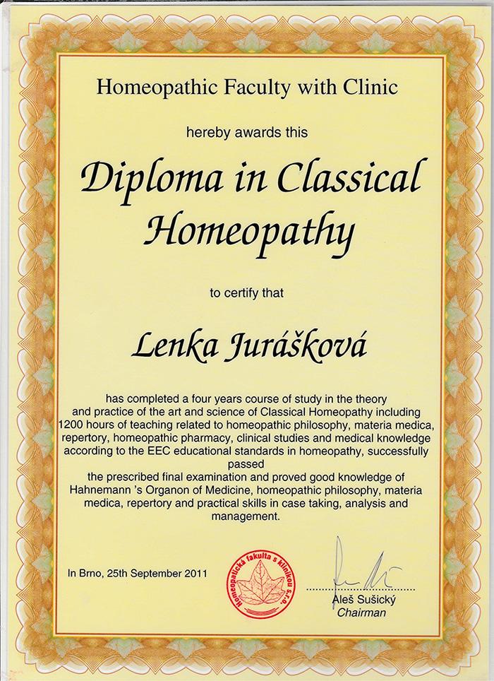 diplom klasické homeopatie